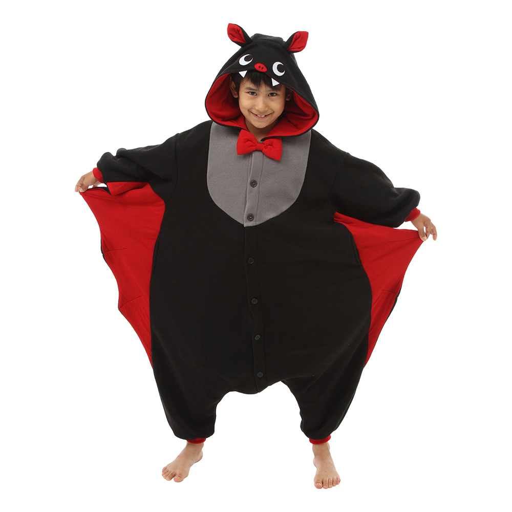 flagermus børnekigurumi sort - Flagermus kostume til børn