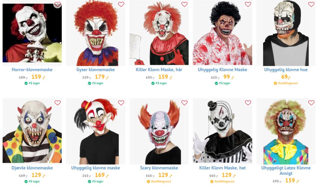 uhyggelig klovnemaske farlig maske til hallowen scary halloweenmaske