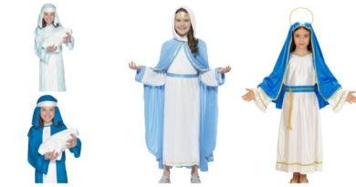 Jomfru Maria kostume til børn Jomfru Maria udklædning Jomfru Maria tøj krybbespil julefest fastelavn