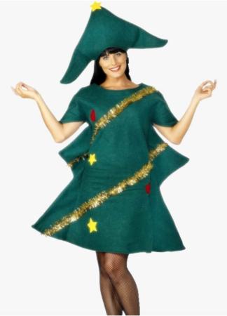 Juletræs kjole 324x450 - Juletræ kostume til voksne