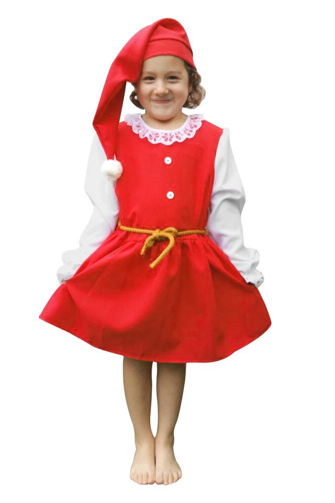 nisse kostume til børn nissepige udklædning nissekostume til piger gammeldags nissekostume julekostume til piger juleafslutning kostume