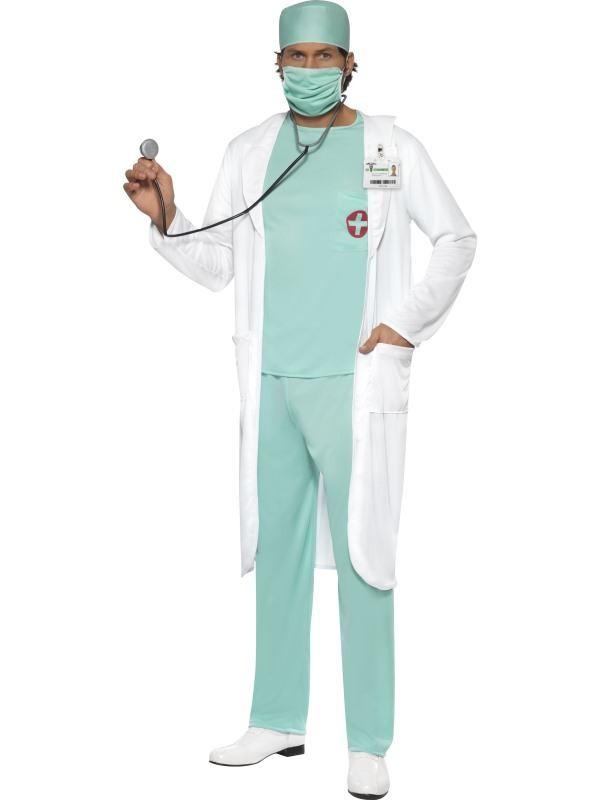 læge kostume til voksne lægekostume kirurgkostume livredderudklædning fastelavnskostume til voksne lægekittel kostume lægeuniform udklædning