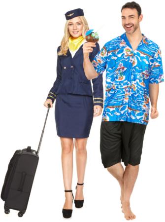 parkostume stewardesse og turist kostume stewardesse og passager kostume
