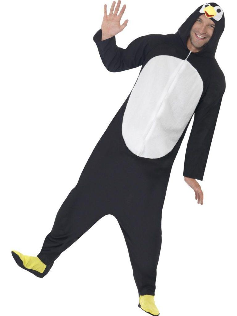 pingvin kostume til voksne sidste skoledag karneval fastelavn pingvin heldragt jumpsuit
