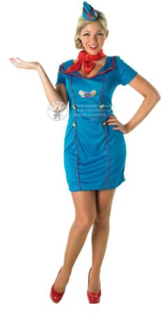 stewardesse kostume til voksne sidste skoledag kostume blå og rød