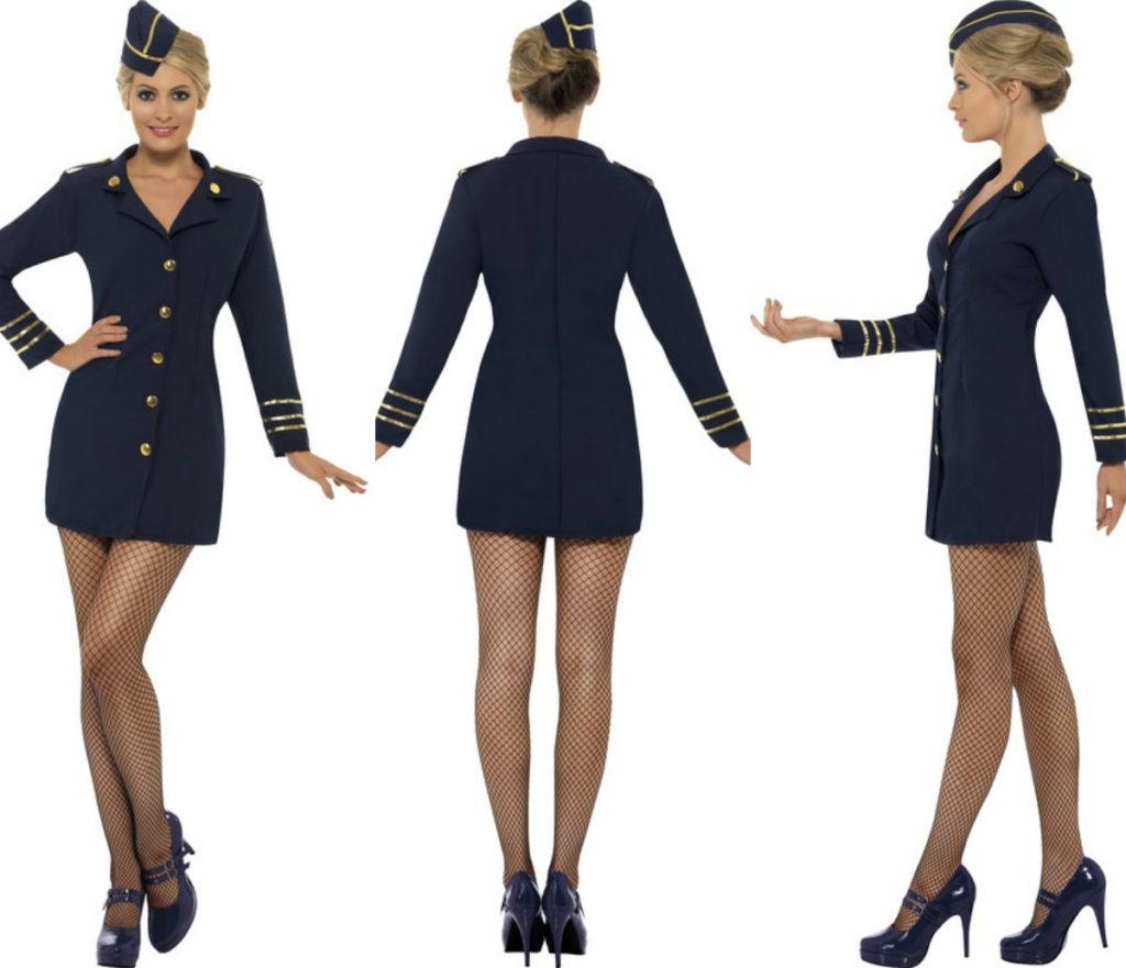 stewardesse kostume til voksne stewardesse uniform udklædning pige sidste skoledag udklædning karnevalskostume