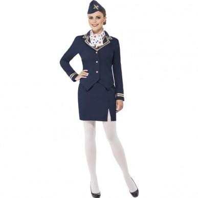 stewardesse kostume til voksne stewardesse uniform udklædning pige sidste skoledag udklædning karnevalskostumet