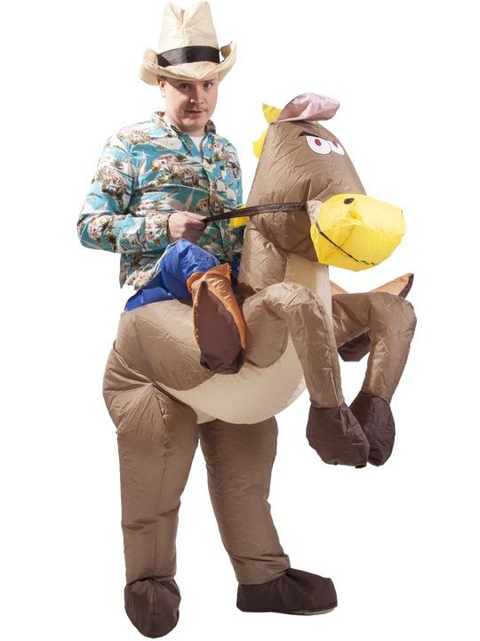 cowboy kostume til voksne komplet cowboy udklædning sherif forklædning rodeo cowboy kostume oppusteligt kostume oppustelig hest kostume
