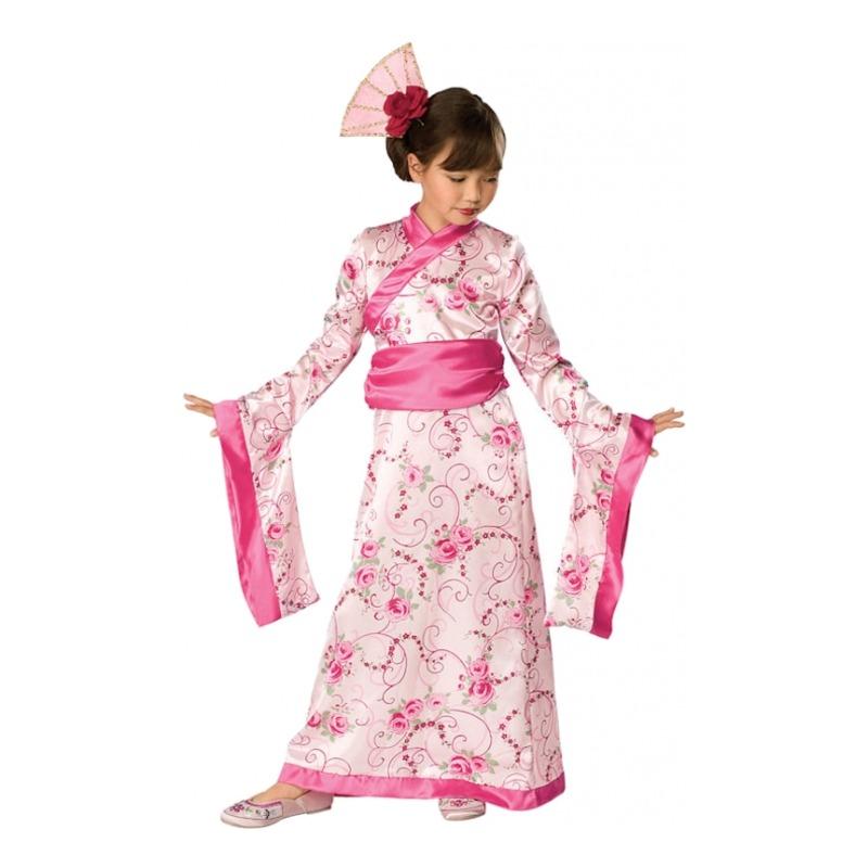 6c4d02b0 geisha kostume til børn kimono til børn japansk kostume til piger blomstret  kimono fastelavnskostume japansk udklædning geisha pink børnekostume