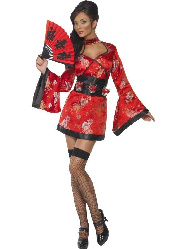 ef2ab4136cc geisha kostume til voksne geisha kimono udklædning til temafest karneval  eller fastelavn kort kimono geisha udklædning