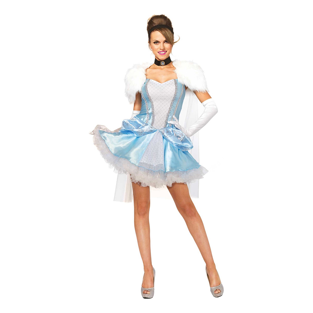 kort askeport kjole cinderella kjole lyseblå kostume