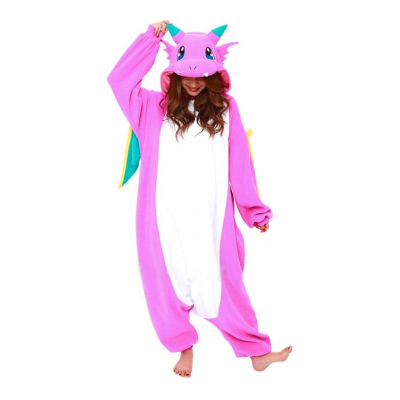 Lyserød drage kigurumi - Drage kostume til voksne