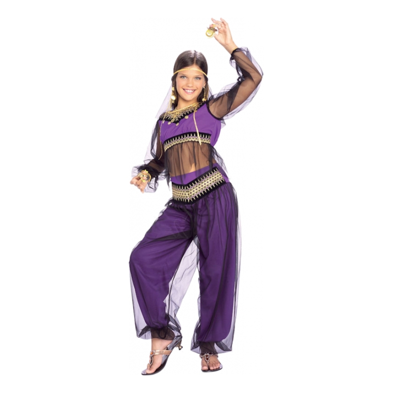 arabisk prinsesse kostume til piger arabisk kostume til børn prinsesse jasmin børnekostume lilla kostume mavedanser kostume til børn
