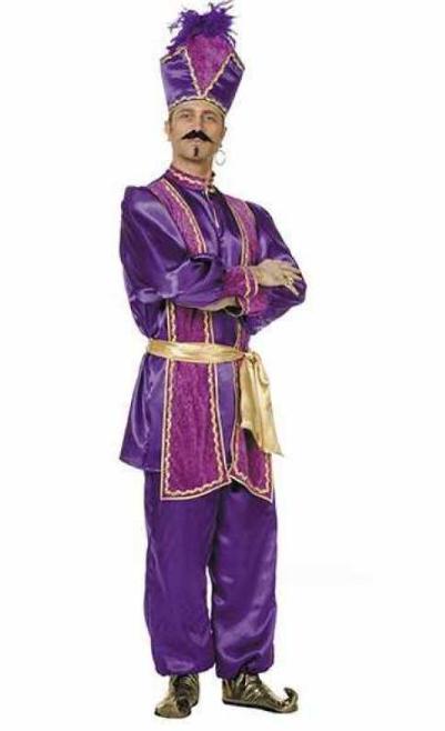 arabisk sultan kostume kongekostume kongen af arabien udklædning arabisk kostume til voksne lilla kostume