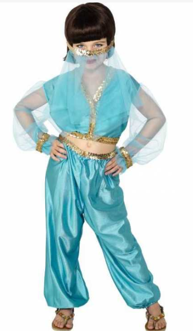 prinsesse jasmin kostume til børn aladdin kostume 1001 nat kostume til børn arabisk kostume til børn blåt kostume børnekostume udklædning til fastelavn jasmin