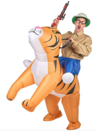 Oppusteligt tiger kostume 331x450 - Tiger kostume til voksne