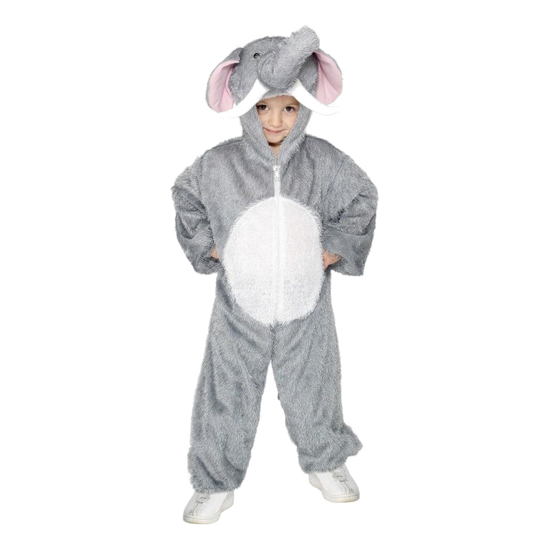 elefant kostume til børn elefant børnekostume elefant plys heldragt kostume elefant udklædning til børn elefant fastelavnskostume elefant fastelavnstøj savannedyr kostume