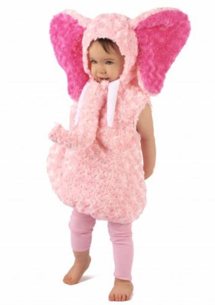 lyserød elefant kostume til børn