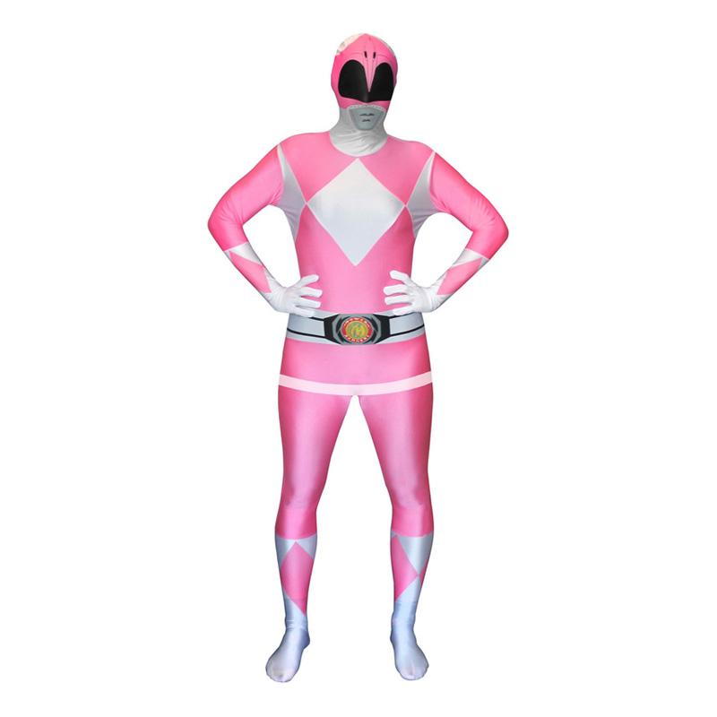 power ranger kostume til voksne power rangers kostume til voksne heldragt udklædning power rangers morphsuit pink lyserød power ranger