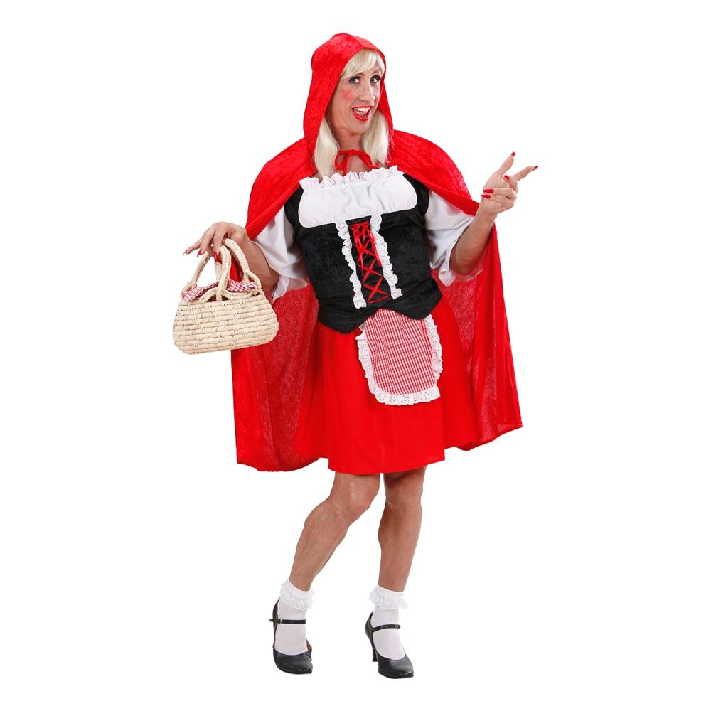 rødhætte kostume til mænd eventyr kostume til voksne rødhætte dragqueen kostume mandelig rødhøtte udklædning polterabend kostume karneval kostume til mænd pride kostume