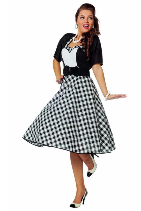 a kjole 1950erne snit sort hvid 50erne kjole udklædning