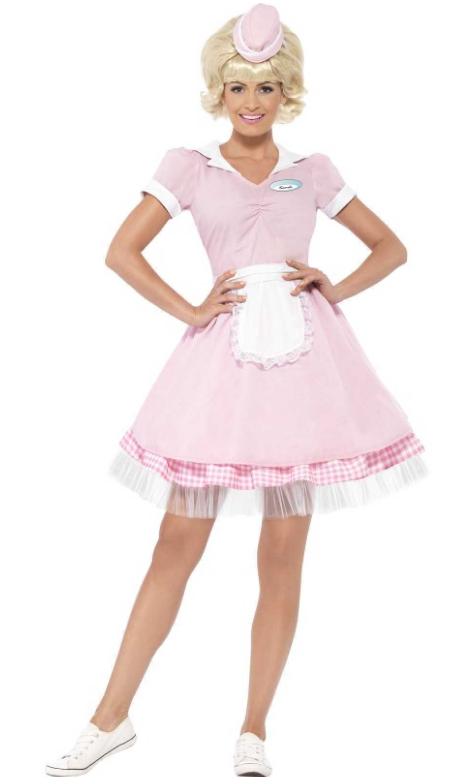 babypink servetrice kjole kostume 1950erne
