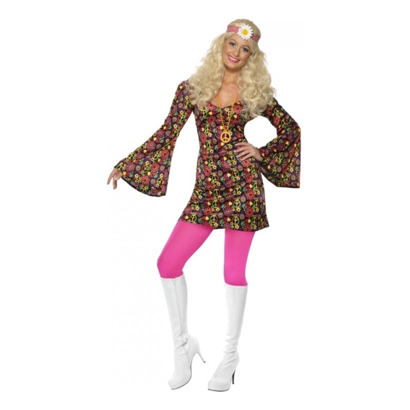 hippie kjole med peace tegn - Hippie kostume til kvinder
