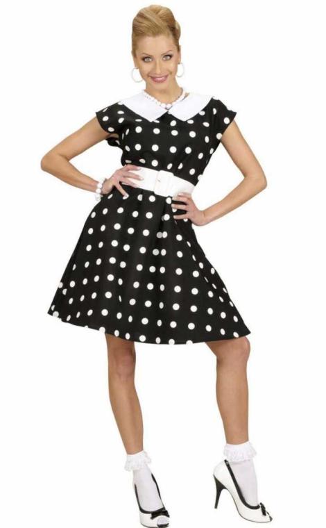 kjole med polkaprikker sort hvid 50erne kjole a-snit kjole