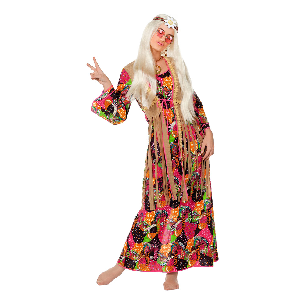 lang hippie kjole - Hippie kostume til kvinder