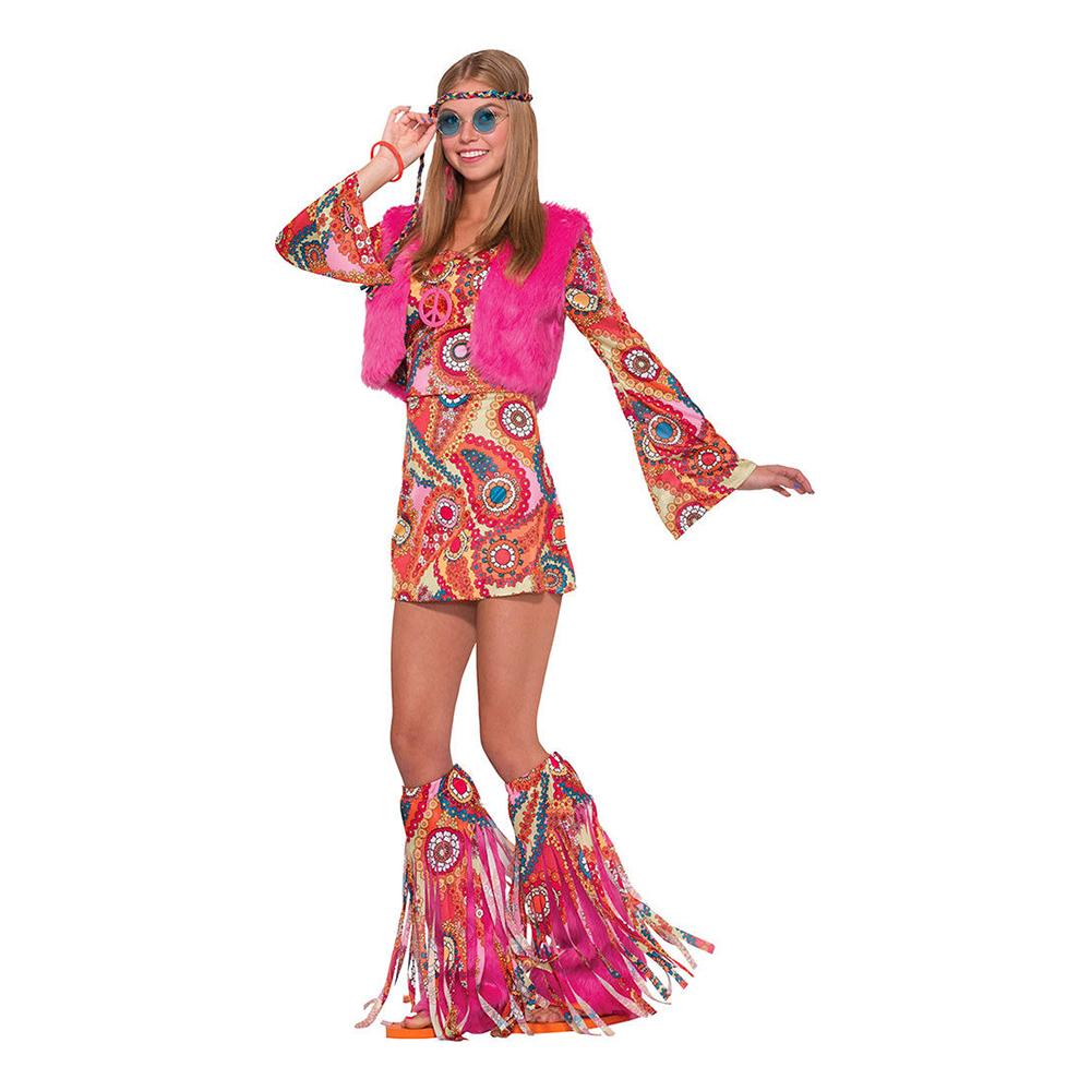 pink hippie kostume til kvinder - Hippie kostume til kvinder