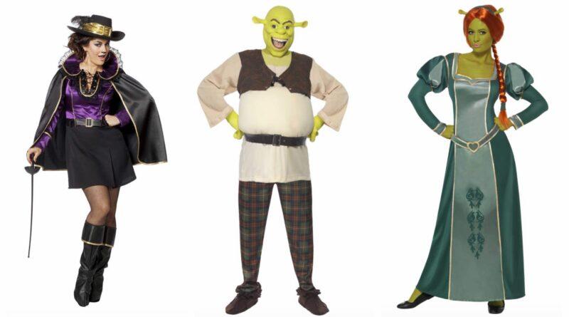 shrek kostume til voksne, shrek udklædning til voksne, shrek kostumer, shrek voksenkostumer, prinsesse fiona kostume til voksne, kendte kostumer, par kostume, gruppekostume til karneval