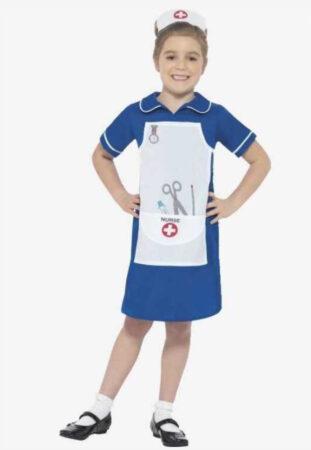 blå sygeplejeske uniform kittel til børn