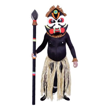 afrikansk zulu kriger kostume med maske stammeleder kostume til voksne