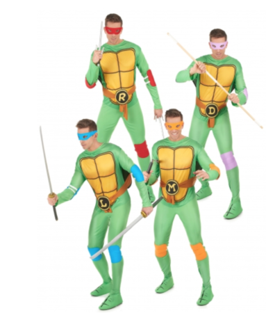 ninja turtles gruppe kostume til voksne  383x450 - Ninja Turtles kostume til voksne