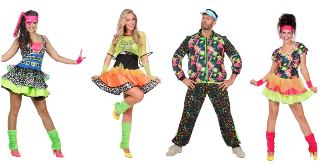 80er udklædning neonfarvet tøj 1980erne kostume til voksne