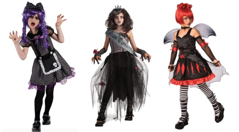 gotisk kostume til børn, gotisk udklædning til børn, gotiske kostumer, gotiske børnekostumer, halloweenkostume til børn, sorte kostumer til børn, uhyggelige kostumer til børn, uhyggelige børnekostumer, prom queen kostume til børn, prinsesse kostume til børn