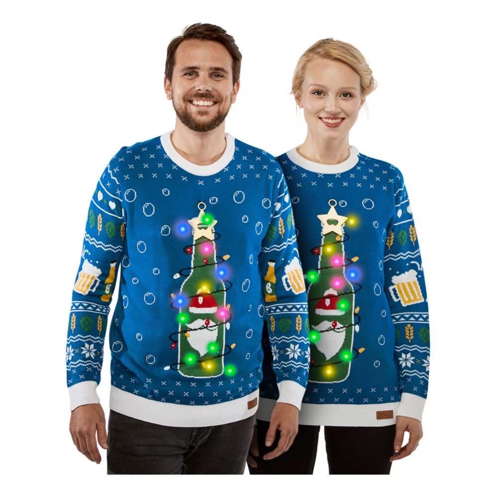 juletrøje med juleøl - Unisex julesweater med LED lys