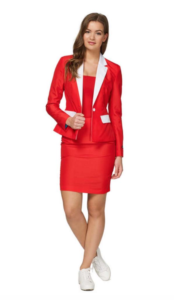 rødt jakkesæt til kvinder 596x1024 - Jule jakkesæt til kvinder