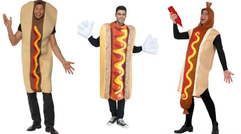 hotdog kostume til voksne, hotdog voksenkostume, hotdog kostumer, hotdog udklædning, fastfood kostume til voksne, mad kostume til voksne, sjove kostumer til voksne, fastelavnskostume til voksne