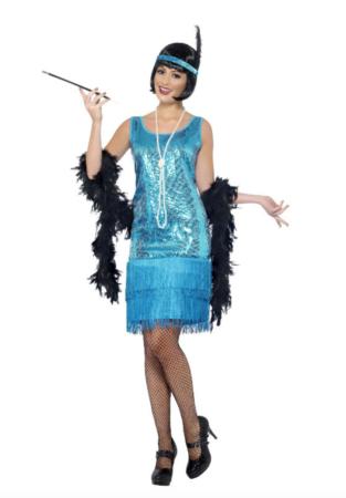 lyseblå charleston kjole 313x450 - Charleston kostume til voksne