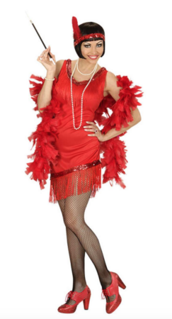 rødt charleston kostume til voksne 243x450 - Charleston kostume til voksne