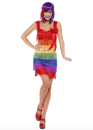 regnbue charleston kjole 323x450 - Charleston kostume til voksne