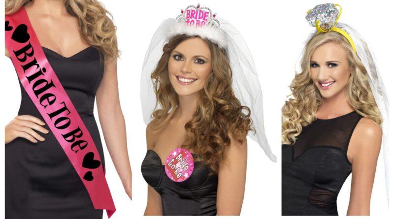 bride to be udklædning, bride to be skråbånd, bride to be ordensbånd, bride to be kostume, polterabend kostumer til kvinder, polterabend feminint kostume, polterabend tøj, sjove kostumer til polterabend