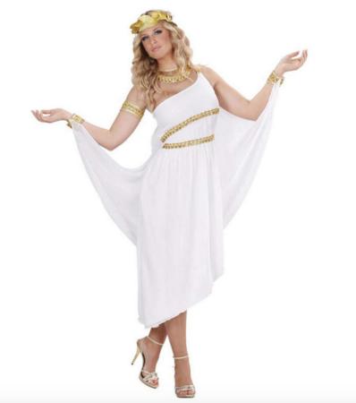 Hvidt græsk gudinde kostume til voksne 398x450 - Hvide kostumer til voksne