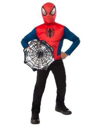 spiderman luksus kostume med skjold spiderman overdel udklædning