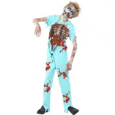 zombie kostume til børn zombie læge zombie kigurg zombie doktor kostume udklædning halloween