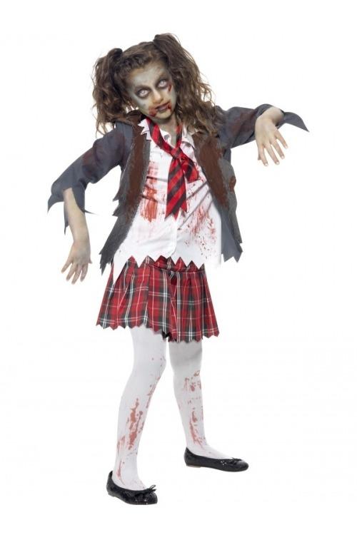 zombie kostume zombie skolepige zombie pige kostume halloween zombie kostume til børn