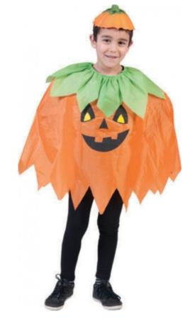 græskar kostume til drenge poncho halloween orange