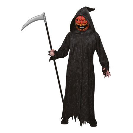 uhyggeligt halloween kostume græskar manden med leen kostume til voksne