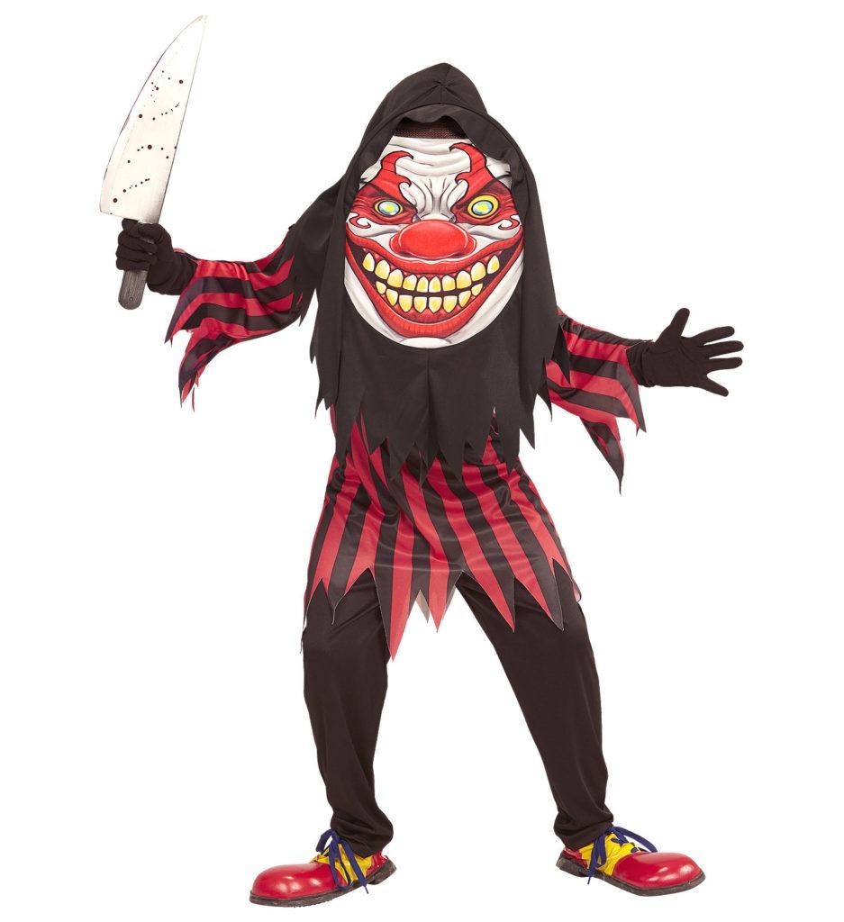 uhyggeligt klovnekostume til børn gyserklovn dræberklovn kostume børnekostume